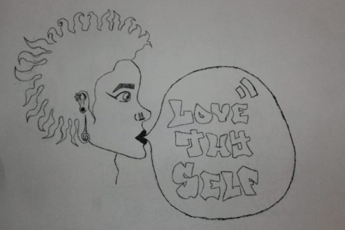"artwork made my a soul sisters member that is a picture of a woman with a speech bubble that says ""love thy self"""