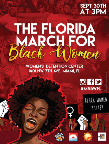 march for black women poster with pictures of women