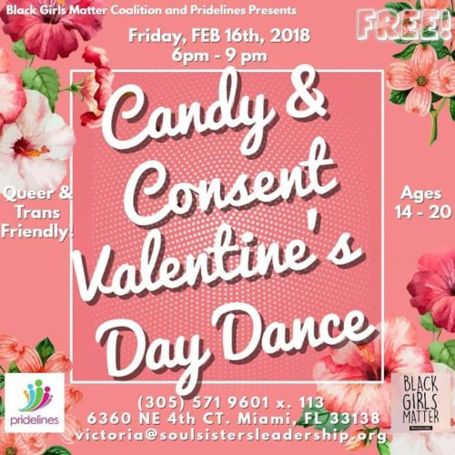 flyer for the candy and consent Valentine's Day dance