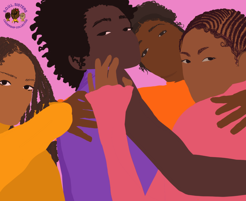illustration of 4 femmes embracing one another protectively
